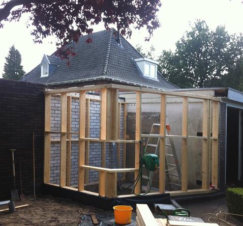 aanbouw bij schuur sauna