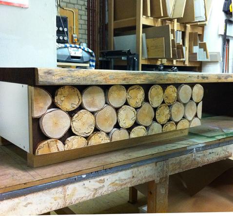 wandkast op maat houtschijf decoratie