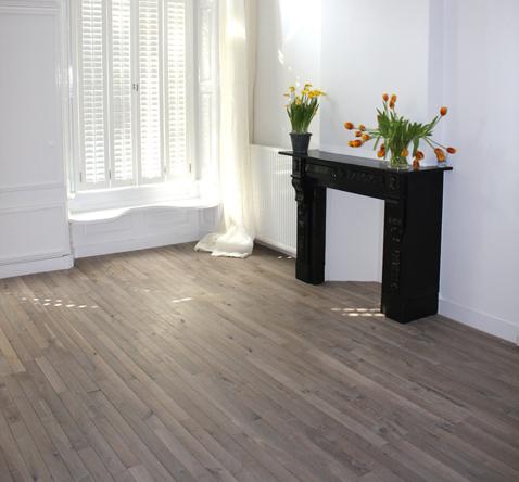 houten vloer smalle delen licht gerookt eiken